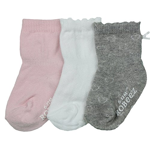 Robeez Baby Girls Solid Basic Color Sock, 6-12 Months, Pink (Pink Heart Socks White)