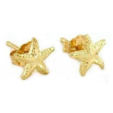 Amazoncom 14K Gold Starfish Earrings Sea Jewelry 7mm Starfish