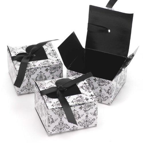 Hortense B. Hewitt Heart Flap Favor Boxes Wedding Accessories, Black, Set of 25 -