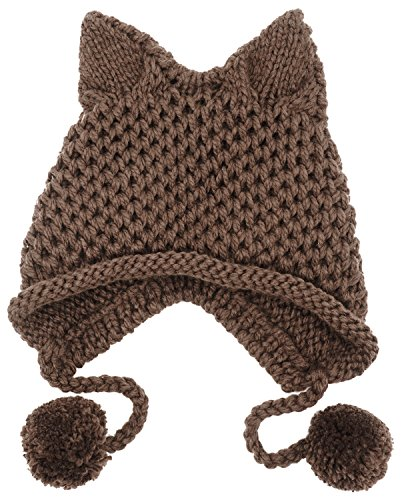 Bellady Winter Cute Cat Ears Knit Hat Ear Flap Crochet Beanie Hat,Dark Coffee