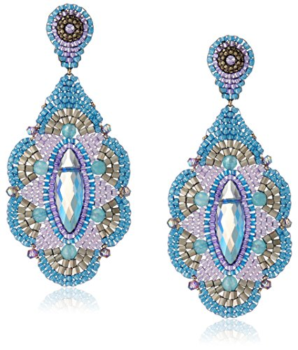 Miguel Ases Blue and Rainbow Synthetic Quartz Chandelier Earrings ()