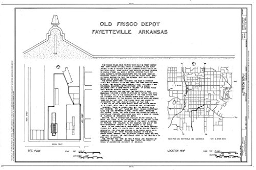 Historic Pictoric Blueprint Diagram HABS ARK,72-FAYV,4- (Sheet 1 of 5) - Old Frisco Depot, 550 West Dickson, Fayetteville, Washington County, AR 12in x 08in -