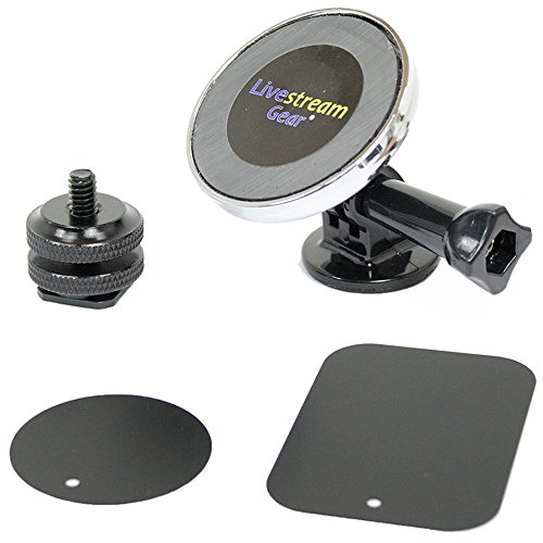 Livestream Gear - Universal Magnetic Phone Mount, GoPro Style Tripod Adapter, and Hot Shoe Adapter for use with DLSR Camera or Tripod. Easily Attach a Phone via Magnetic Mount and Metallic Plates.
