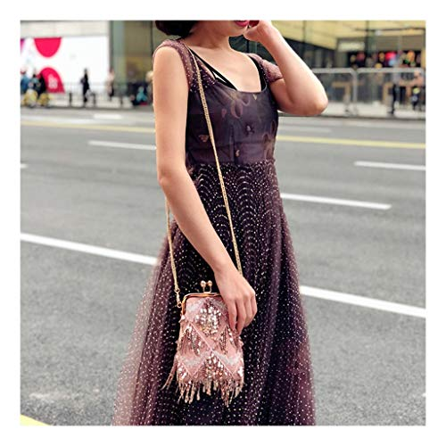 Chain Shoulder Juzhijia Fairy Single Tassels Fashion Bag Bags Pink Dinner Gold Fairies Bag Ladies' Handmade f7p8qwf