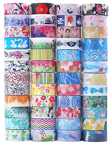 Hwook 48 Rolls Washi Tape Set, Decorative Tape Japanese Style Design, Great Glitter washi Tape for Planners, Arts, Crafts, DIY.