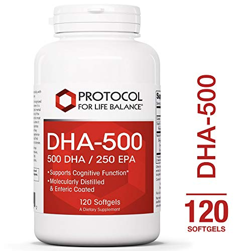 Protocol For Life Balance - DHA-500 - Supports Cognitive Function, Healthy Heart, Brain, Joints, Vision, Skin, Vascular Health, Helps to Reduce Inflammation, & Supports Immune System - 120 Softgels