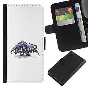 Be-Star la tarjeta de Crédito Slots PU Funda de cuero Monedero caso cubierta de piel Para Sony Xperia Z3 D6603 ( Dragon Grey Mythical Art Wild Drawing )