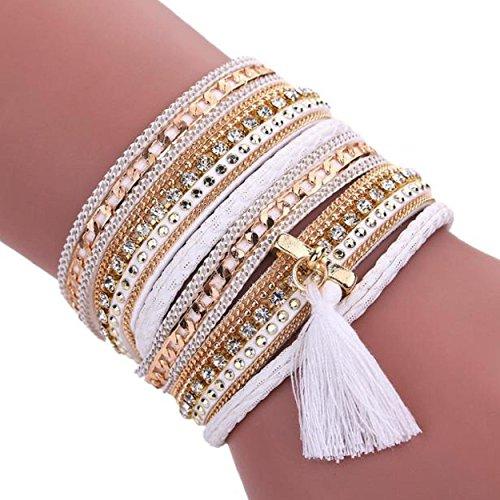 Vintage Hand Made Woven Bracelet (White) - 6