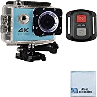 eCostConnection 4K Ultra HD 16MP WiFi Waterproof Sports Action Camera 2.0 (Blue) with Anti-Shake DSP and Wrist RF Remote + eCostConnection Microfiber Cloth