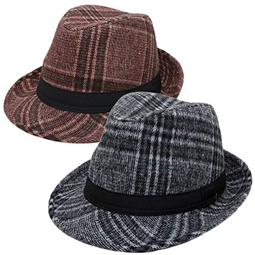 2 x Men Women Matching Trilby Hat Buffalo Check Checker Plaid Tartan Fedora Warm