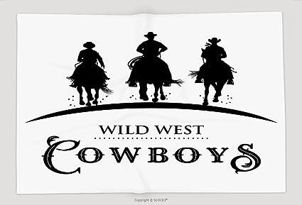 Supersoft manta de forro polar de silueta de tres Cowboys caballos Vector 543507844