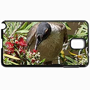 Personalized Protective Hardshell Back Hardcover For Samsung Note 3, Bird Eating Flowers Design In Black Case Color