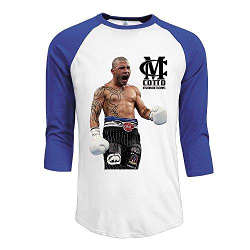 YI Own Men's Funny Miguel Cotto 3/4 Sleeve Baseball T-Shirt RoyalBlue