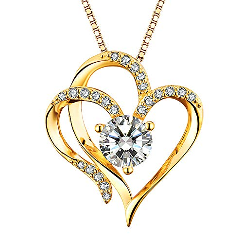 (Heart Necklace 14K Yellow Gold Plated 5A Cubic Zirconia Pendant Gold Necklace for women)