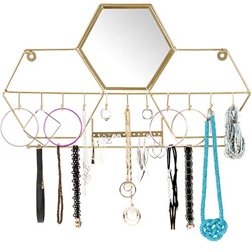 Wall Jewelry Holder - Wall-Mounted Jewelry Storage Organizer: Metal Holder Hanging Mirror Display Hooks for Hanging Rings Earings Necklace Holder Home Decor