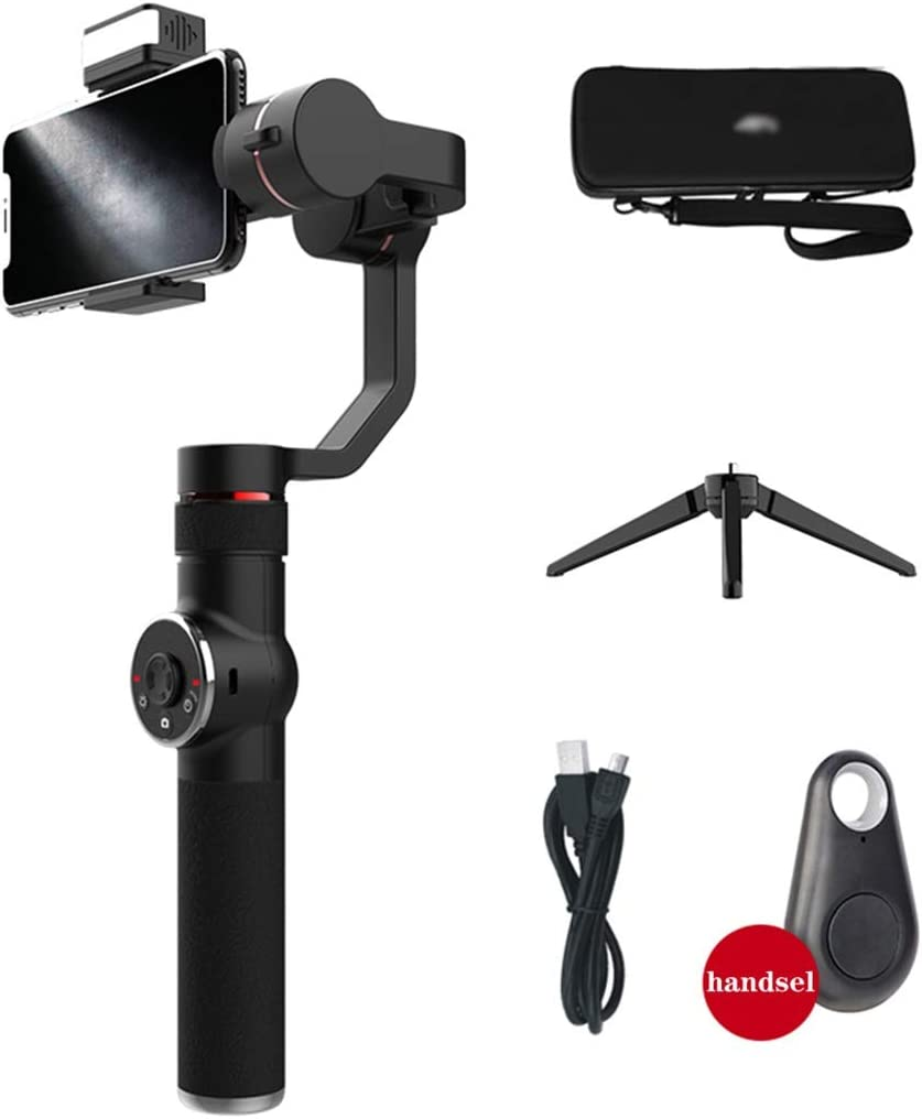 Anti-shake HYJBGGH Handheld Stabilizers Mobile Phone Stabilizer With Face Tracking Handheld Stabilizer 3-axis Gyroscope Expandable 3-position Stand Color : Black IOS And Android Phones