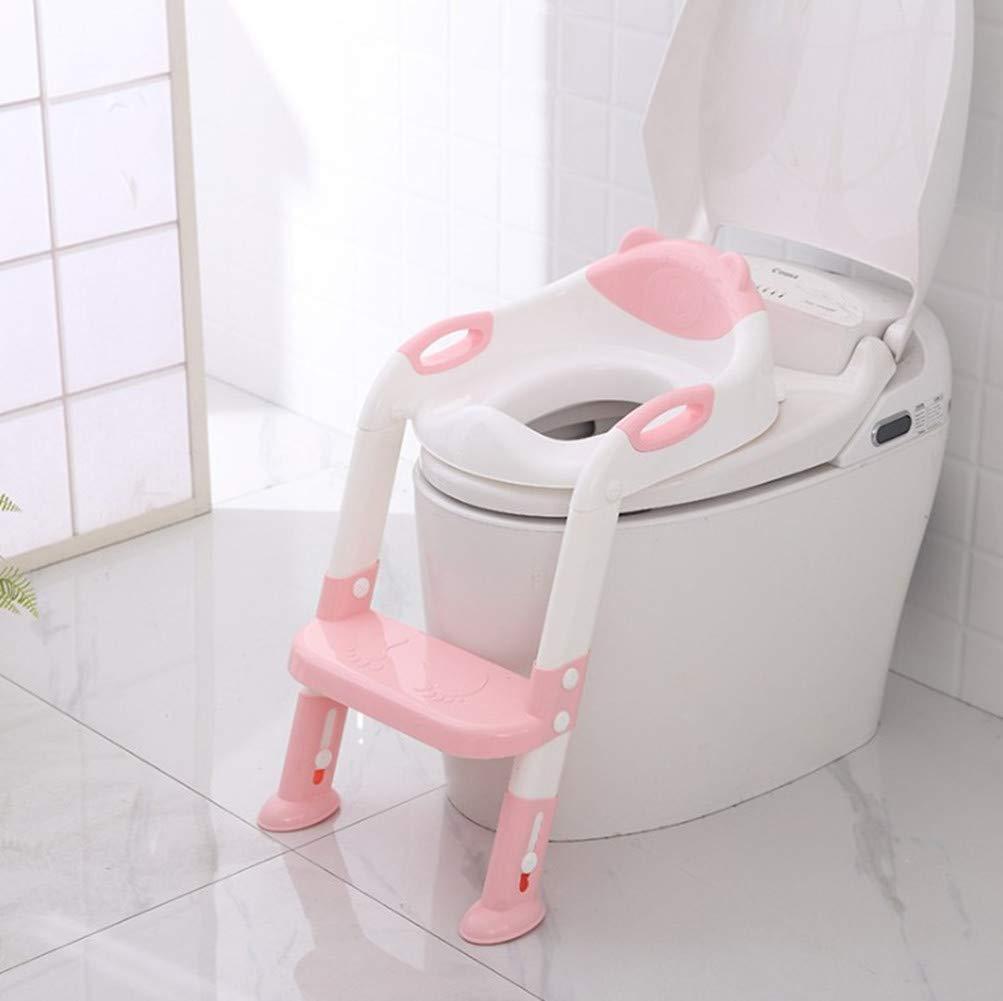 CUTELOVEKE-T/öpfchen Toilettensitz Trainer Sitz f/ür Kinder Toiletten Training mit Leiter//Treppe,Rutschfest stabil klappbar und h/öhenverstellbar f/ür 1-7 j/ährige Kids