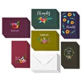 #10: 48 Thank You Greeting Cards - Jewel Toned Watercolor Flower Floral Thank You Designs, Envelopes Included - 4 x 6 Inches