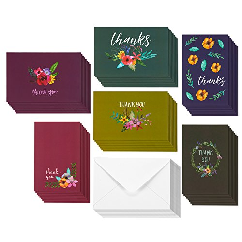 48 Assorted Pack Thank You Note Cards for Her - Bulk Box Set - Blank on the Inside - Jewel Toned Watercolor Flower Floral Thank You Designs - Includes 48 Greeting Cards and Envelopes - 4 x 6 Inches