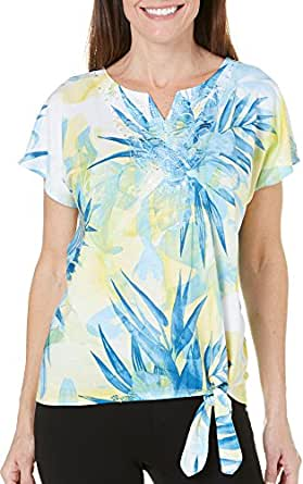 Alfred Dunner Tropical Floral Knit Top Small
