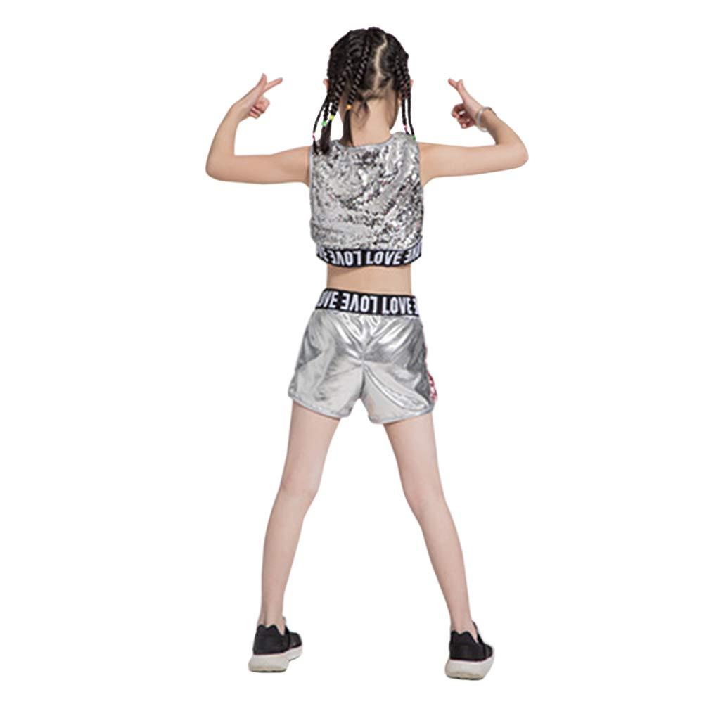 Deylaying Fille V/êtement Jazz Ballet Danse Costume /à Paillettes Danse Sport Brillant Hip-hop Moderne Tenues V/êtements