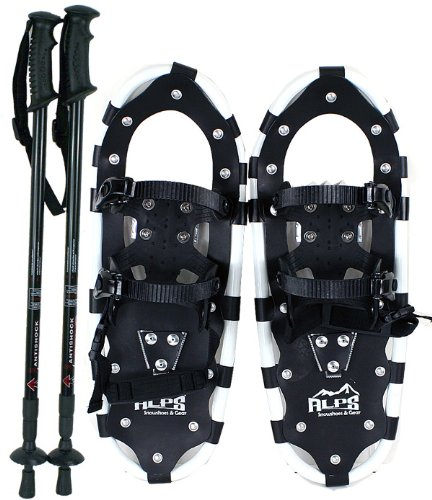 Alps All Terrian Snowshoes 22' + pair antishock adjustable snowshoes poles (Black) + free carrying tote bag