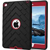 iPad mini 4 Case, iPad A1538/A1550 Case, Hocase Rugged Shockproof Anti-Slip Hybrid Hard Shell+Silicone Rubber Bumper Protective Case for Apple iPad mini 4th Generation 2015 - Black / Red