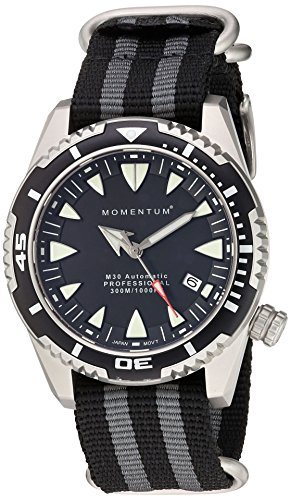 Momentum Men's M30 Stainless Steel Japanese-Automatic Diving Watch with Nylon Strap, Multi, 22 (Model: 1M-DV30B7S