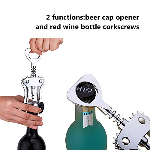 Foho Best Wing Corkscrew Wine Bottle Opener Luxury Waiter Corkscrew with Stopper Set for Wine Enthusiast Waiters - Sleeve Anchors by Foho (Image #4)