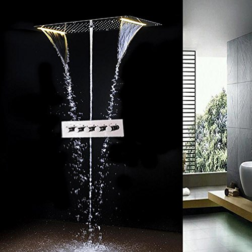 Gowe 5 Function Recessed Ceiling LED Shower Set Bathroom Accessories 700380mm Electric Shower Rainfall,Waterfall,Misty,Water Column 2