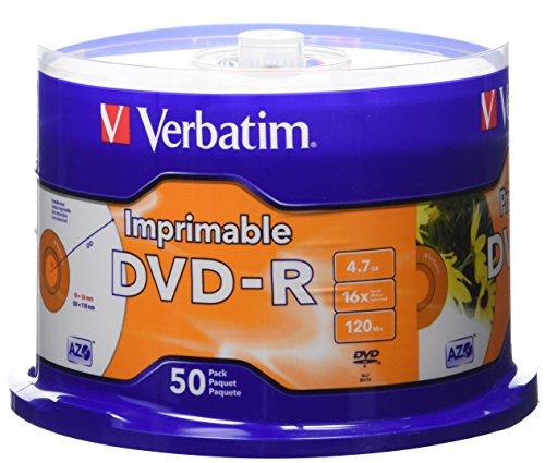 Verbatim 4.7GB up to 16x White Inkjet Printable Recordable Disc DVD-R, 50-Disc Spindle 95137 by Verbatim