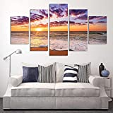 Canvas Wall Art Sunset Sea Beach Painting 5 Pieces Orange Sky Canvas Art Nature Picture Framed and Ready to Hang for Wall Decor