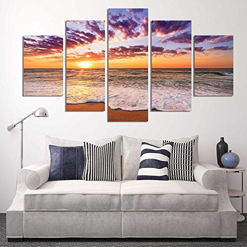 Canvas Wall Art Sunset Sea Beach Painting 5 Pieces Orange Sky Canvas Art Nature Picture Framed and Ready to Hang for Wall Decor by Garth
