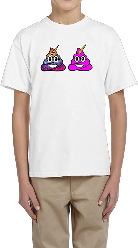 Fzjy Wnx Short-Sleeved Tee Youth Crew-Neck Unicorn Poop Emoji for Boys