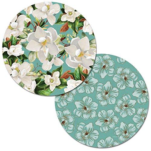 - Counterart Set of 4 Round Reversible Decofoam Placemats, Magnolias