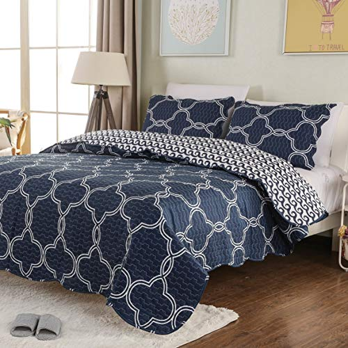 Reversible Quilt Set with Shams Summer Bedspread Queen Size Modern Style Hypoallergenic Pattern#16