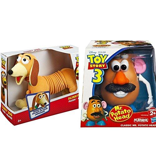 2 LOT Bundle Disney Pixar Toy Story Plush Slinky Dog & Mr. Potato Head Toy Story 3 Classic Mr. Potato - Men X Viper
