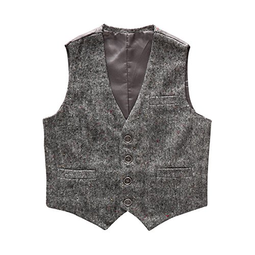 Boys' Girls' Top Design Casual Waistcoat Pockets Buttons V Collar Vests Grey Size 4T by Coodebear (Image #8)