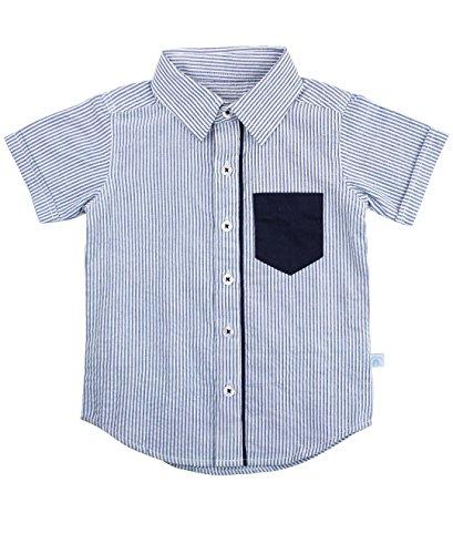 RuggedButts Baby/Toddler Boys Blue Striped Seersucker Button Down Shirt