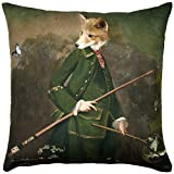 ADORABELLA Pantomime Animals Collection - Soft Touch Velvet Printed Pillow - Mr Todd Design 17'' x 17'' Square Throw Pillow Home Decor Scatter Cushion - Complete With Insert
