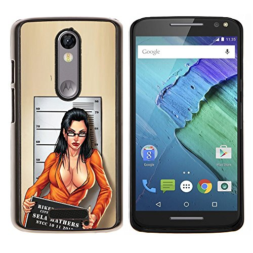 Mug Black Chick - Sexy Felon Mug Shot Babe Cleavage Chick - Aluminum Metal&Hard Plastic Back Case Cover - Black - Motorola Droid Turbo 2 / Moto X Force