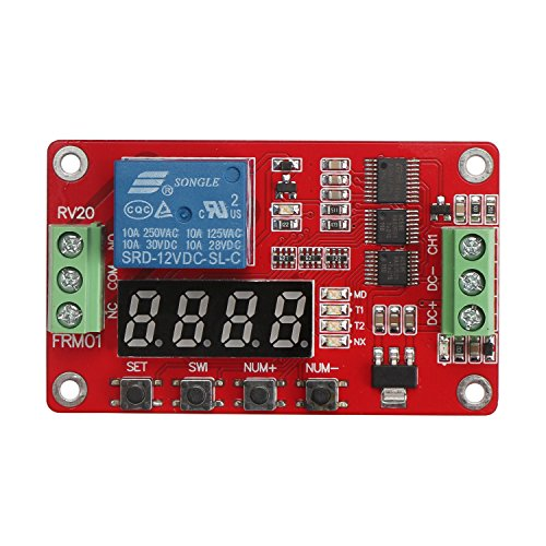 DROK Multifunctional DC 12V 1 Channel Relay Board Single-channel Relay Module 10A Portable Timer Switch Board Power Switch Circuit with 18 Mode and LED Digital Display Cyclic Time Delay