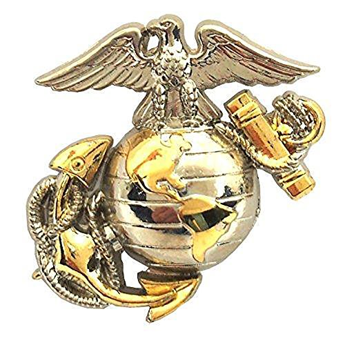 - US Marine Corps B2 Left Collar Gold Silver Emblem USMC Lapel/Hat Pin 1