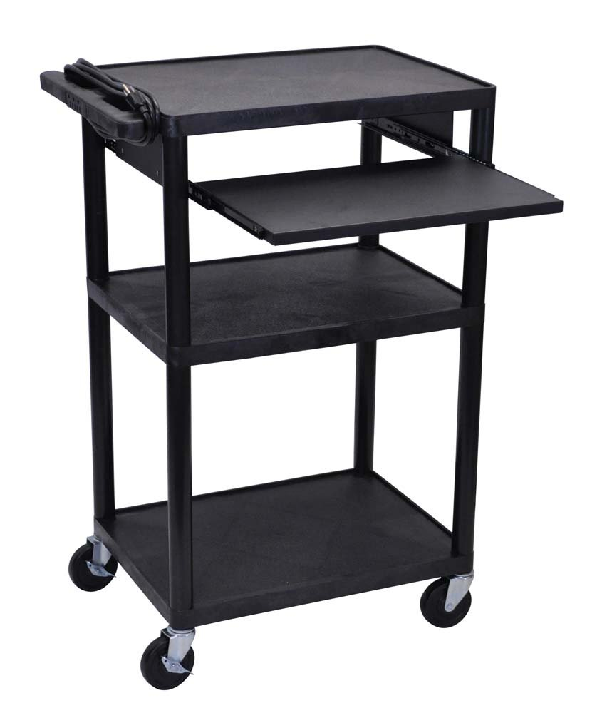 Offex 3 Shelves AV Cart with Front Pullout Shelf, Black (OF-LP42LE-B)