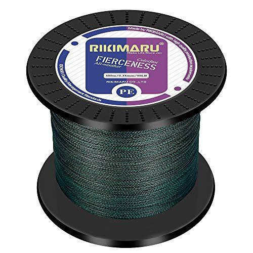 RIKIMARU Braided Fishing Line Abrasion Resistant Superline Zero Stretch&Low Memory Extra Thin Diameter Green 1094Yds,80LB
