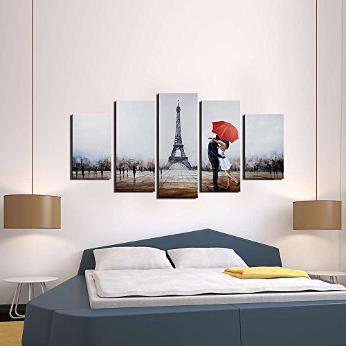 ARTLAND Hand Painted 28x50 Inch Sleepless In Paris 5 Piece Gallery Wrapped Canvas Landscape Wall Art Set