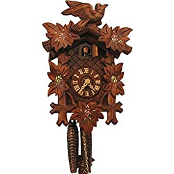 Romba Rombach & Haas BIRD, LEAVES AND PAINTED FLOWERS Model 1202P 1-Day Black Forest Cuckoo Clock with Half and Full Hour Call in Linden Wood