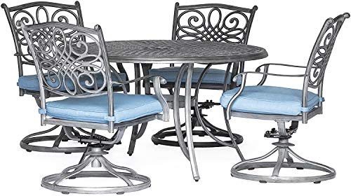 Patio Dining Set. 5 Piece Modern Outdoor Porch, Deck, Lawn, Pool, Garden, Balcony Diner, Conversation, Seating, Bistro, Chat Aluminum Furniture Kit With Fire Pit. Outside Round Table, Chairs, Cushions