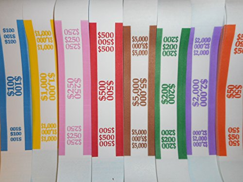 400 Currency Straps / Bands (50 of each Denomination)