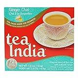 Tea India, Ginger Chai Tea Bags, 72Count